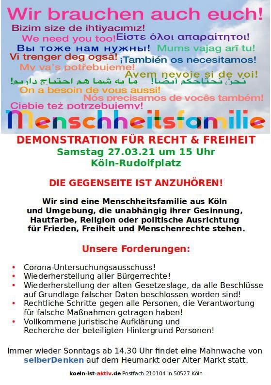 Demo in Köln am 27.03.2021
