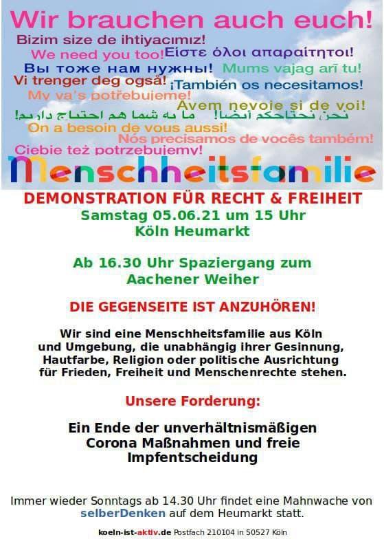 Demo am 05. 06. Köln Heumarkt
